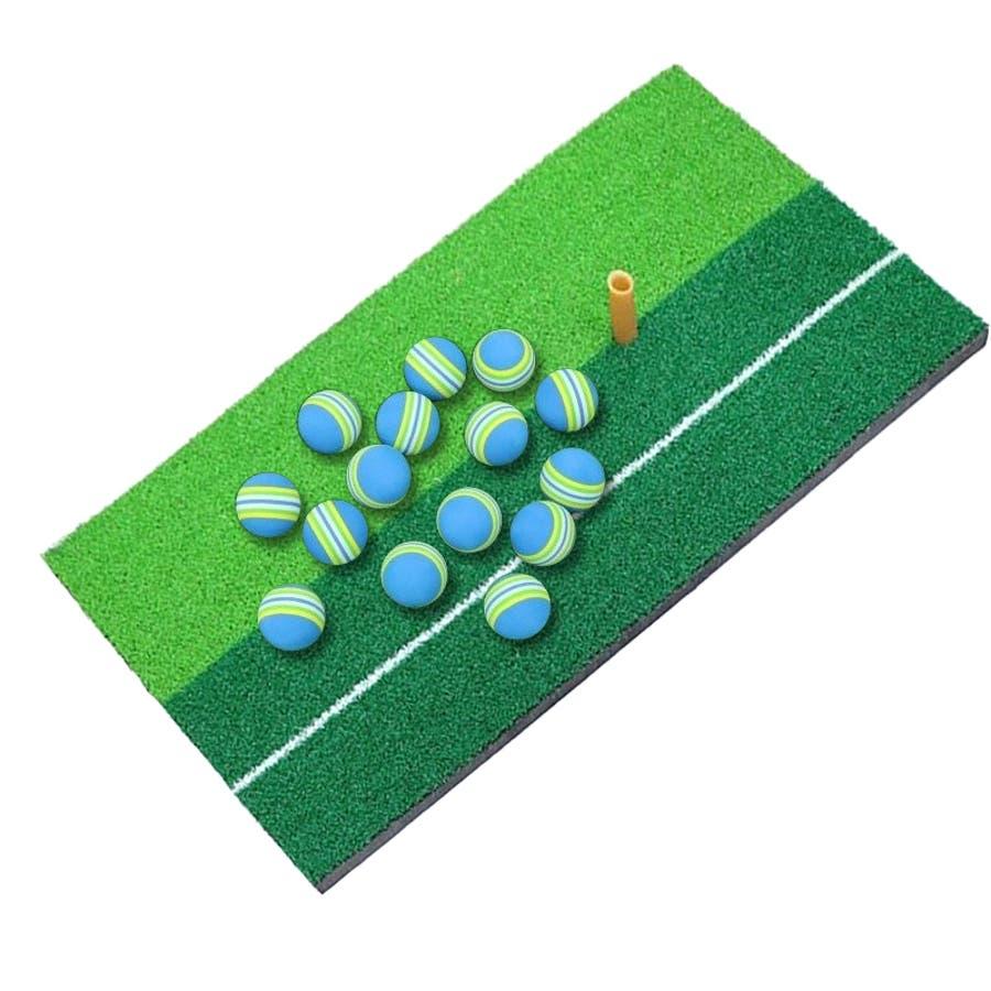 ゴルフ 練習用 セット ショットマット ティー ボール 15個 スイング マット 大型 ライン付き 素振り 練習マット ゴルフ用品パター 極厚 ダフり ドライバー アイアン ウェッジ 小物 8