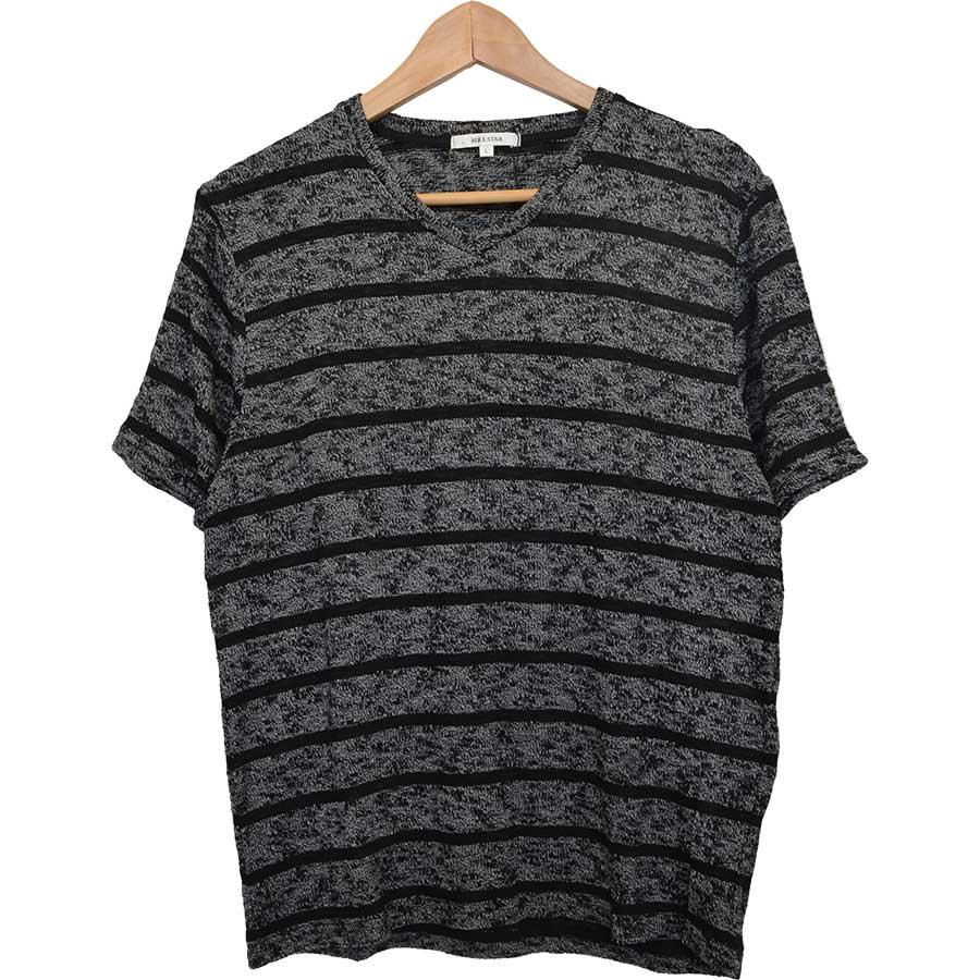 いい意味で予想と違いました! メンズファッション通販Tシャツ カットソー ニットソー ボーダー Vネック 半袖 メンズ オフホワイト×ブラック ブラック×グレー メンズ 夏 撃破