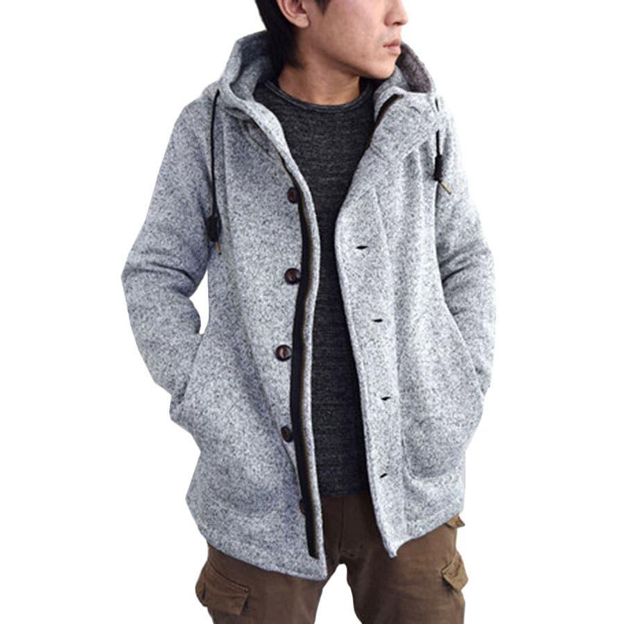 想像通りの色でとても良かった コート メンズ アウター フード ニット 裏起毛 スピンドル パーカー グレー ネイビー ブラック メンズファッション メンズ 夏 激増