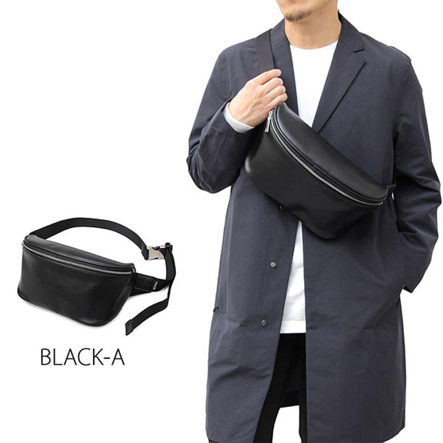 ウエストポーチ ボディバッグ ショルダーバッグ ウエストバッグ ヒップバッグ 合皮 PUレザー 鞄 かばん 小物 メンズ ブラックAブラックB 夏先行 4