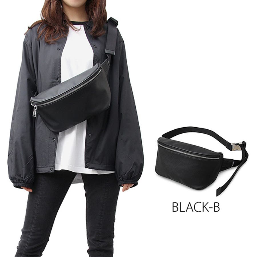 ウエストポーチ ボディバッグ ショルダーバッグ ウエストバッグ ヒップバッグ 合皮 PUレザー 鞄 かばん 小物 メンズ ブラックAブラックB 夏先行 5
