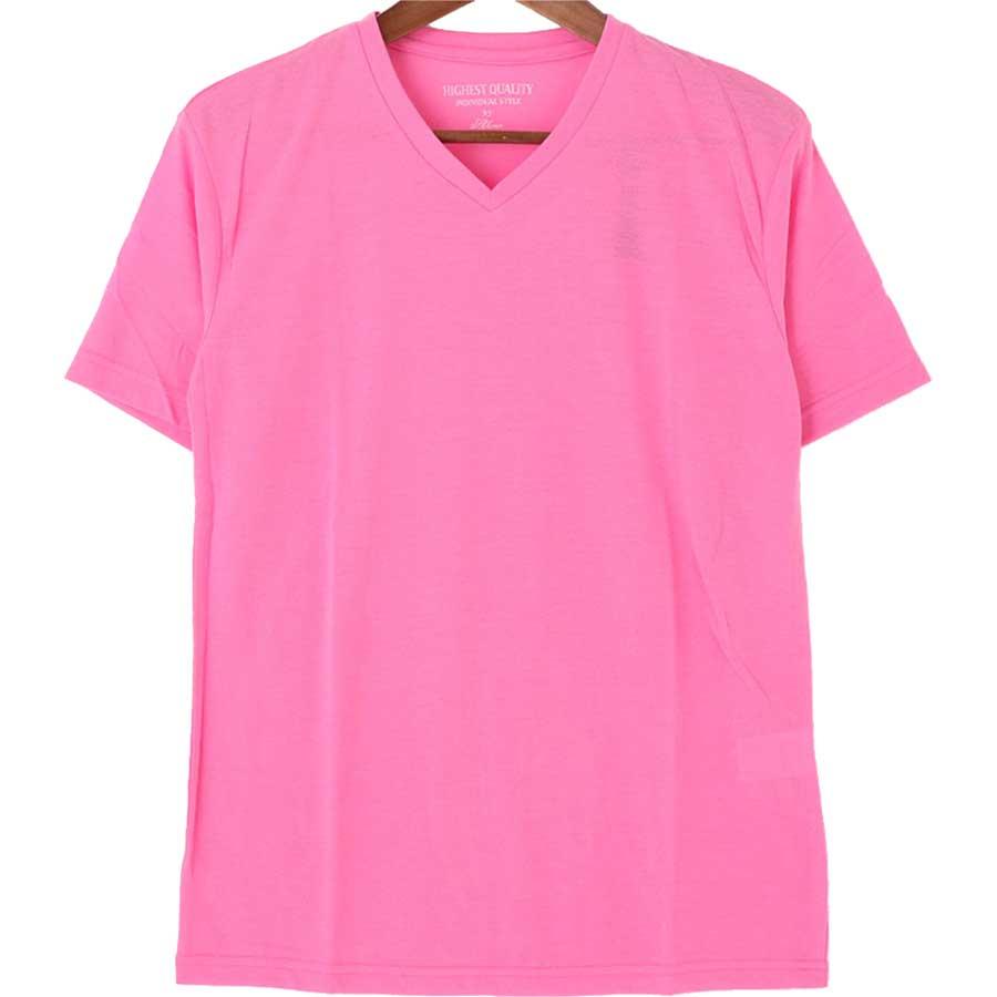 かなり使える メンズファッション通販Tシャツ カットソー 半袖 Vネック 無地 蛍光 ネオンカラー ネオン メンズ オレンジ イエロー サックス ピンク メンズ 夏 活気