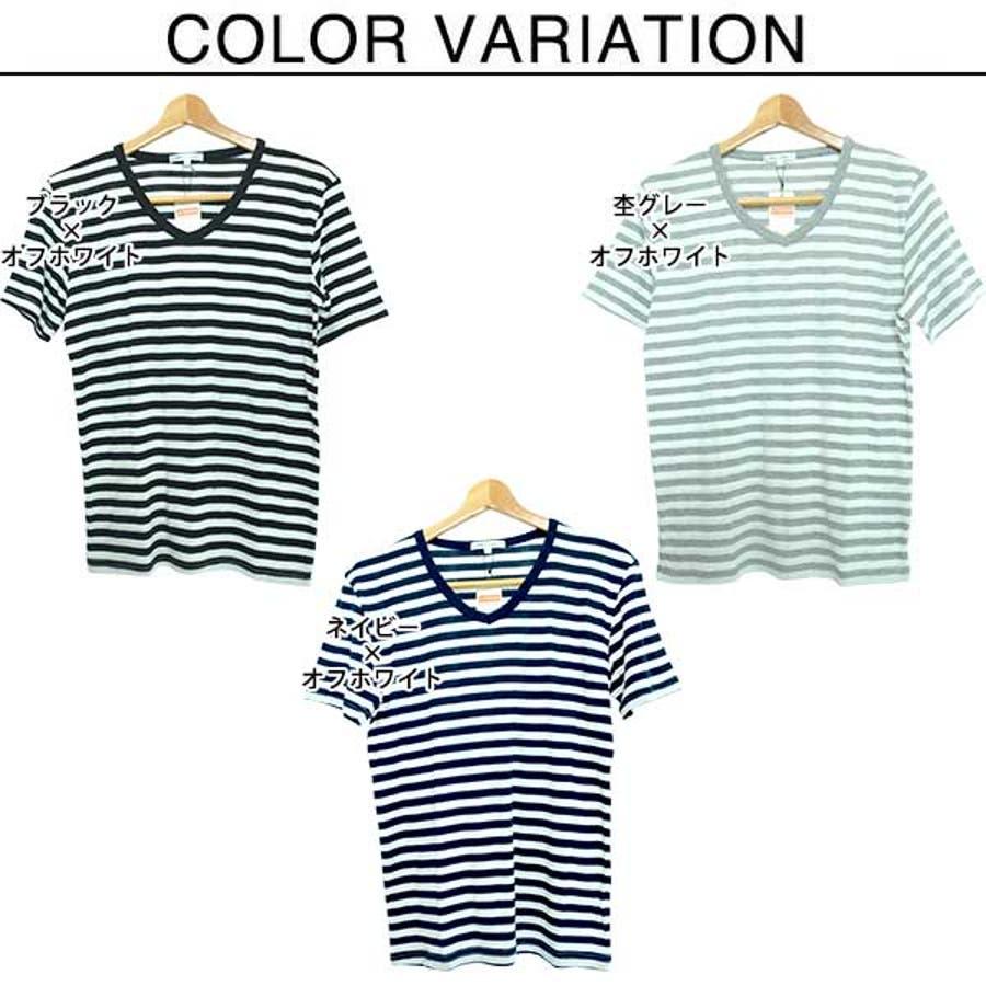 半袖Tシャツ カットソー Tシャツ Vネック ボーダー柄 半袖 メンズ ネイビー ブラック グレー メンズ トップス 2