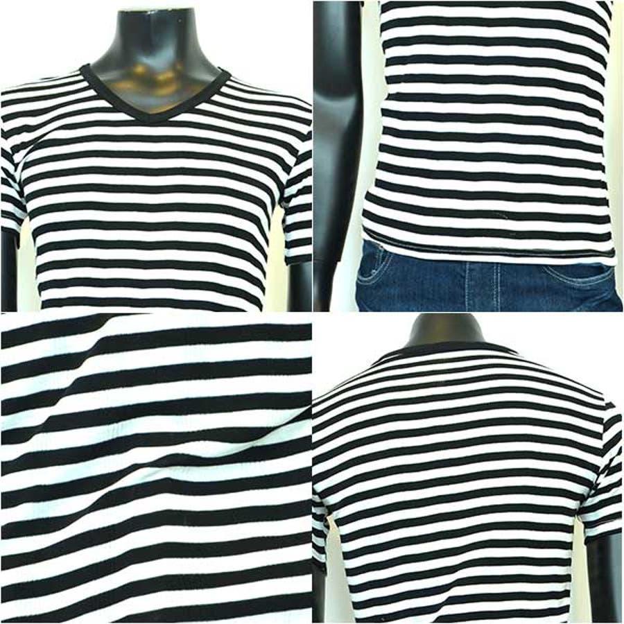 半袖Tシャツ カットソー Tシャツ Vネック ボーダー柄 半袖 メンズ ネイビー ブラック グレー メンズ トップス 3