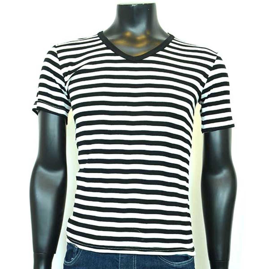 半袖Tシャツ カットソー Tシャツ Vネック ボーダー柄 半袖 メンズ ネイビー ブラック グレー メンズ トップス 4