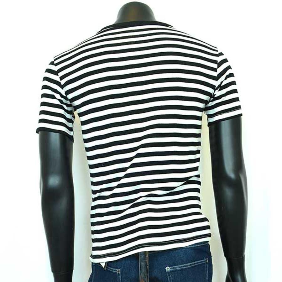 半袖Tシャツ カットソー Tシャツ Vネック ボーダー柄 半袖 メンズ ネイビー ブラック グレー メンズ トップス 5