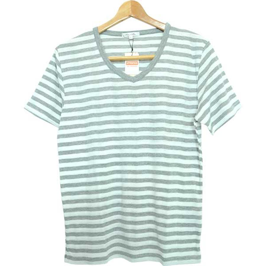 半袖Tシャツ カットソー Tシャツ Vネック ボーダー柄 半袖 メンズ ネイビー ブラック グレー メンズ トップス 6