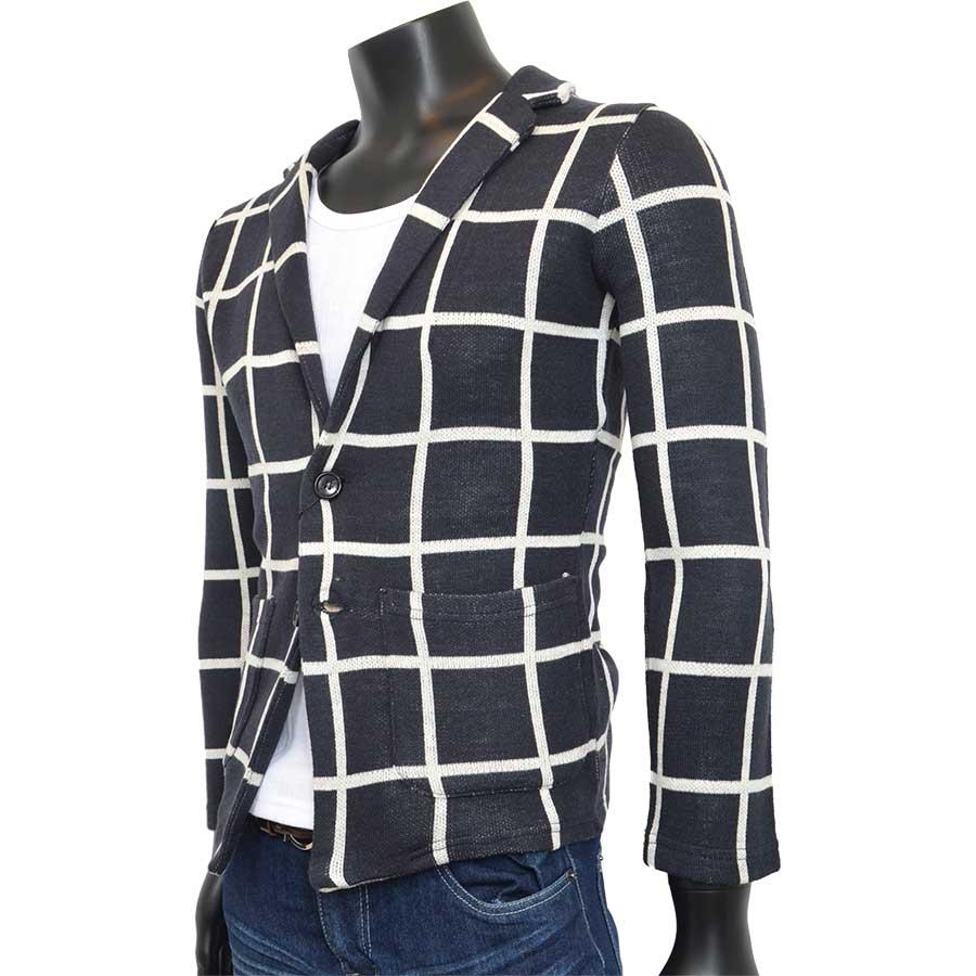 今、もっとも流行っている メンズファッション通販テーラードジャケット カーディガン メンズ ニット チドリ チェック ジャガード 千鳥 ウインドペン メンズファッション メンズトップス 秋冬 豪傑