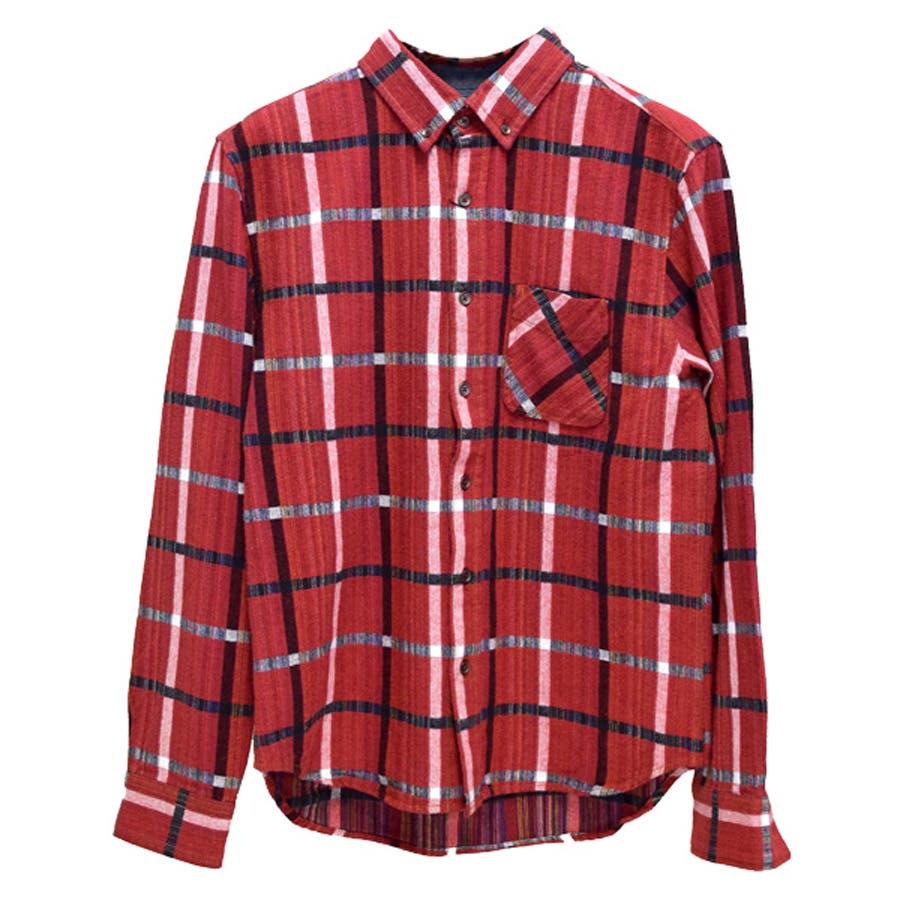 値段の割にしっかりしている シャツ カジュアルシャツ チェック柄 レインボーチェック 長袖 メンズ レッド ネイビー ブラック 獄死