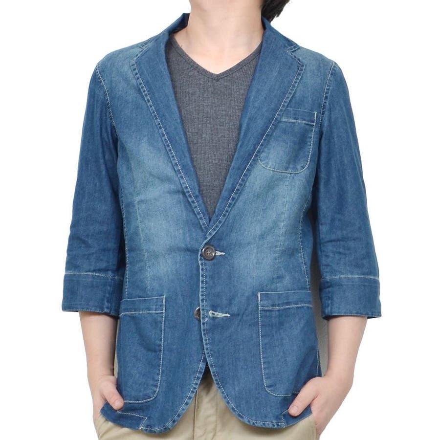 メンズ一大トレンド メンズファッション通販テーラードジャケット メンズ 7分袖 七分袖 デニム ウォッシュ ワンウォッシュ ダメージ クラッシュ メンズファッション メンズ 夏 合判