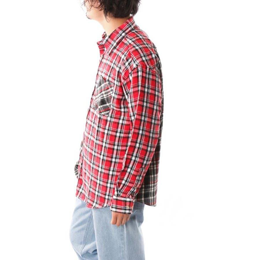 シャツ カジュアルシャツ 長袖 チェック柄 ビエラチェック レギュラーカラー ネルシャツ 起毛 ビッグサイズ オーバーシルエットトップス メンズ グレー レッド ブルー ネイビー 冬先行 3