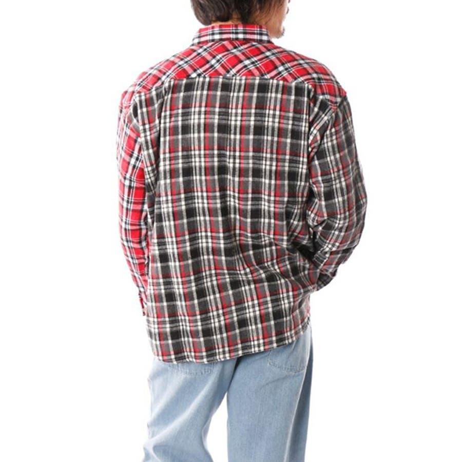 シャツ カジュアルシャツ 長袖 チェック柄 ビエラチェック レギュラーカラー ネルシャツ 起毛 ビッグサイズ オーバーシルエットトップス メンズ グレー レッド ブルー ネイビー 冬先行 4