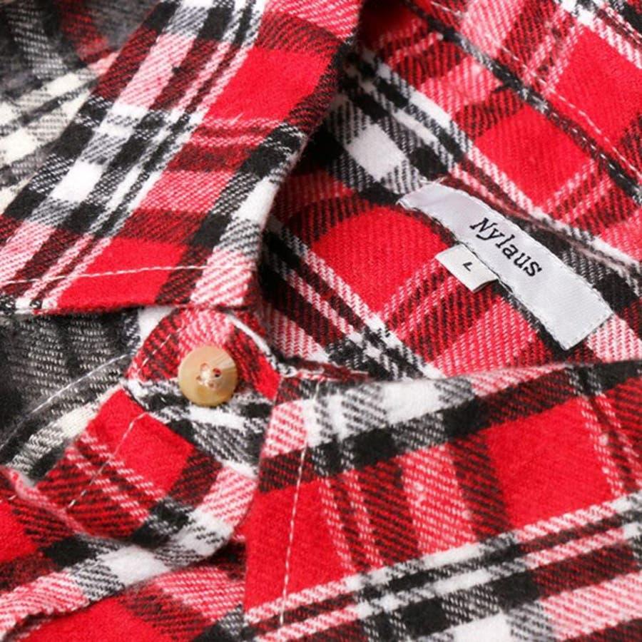 シャツ カジュアルシャツ 長袖 チェック柄 ビエラチェック レギュラーカラー ネルシャツ 起毛 ビッグサイズ オーバーシルエットトップス メンズ グレー レッド ブルー ネイビー 冬先行 5