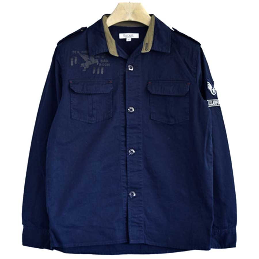 素材が良かったです! シャツジャケット ブルゾン ジャケット メンズ ミリタリージャケット ワッペン カーキ ネイビー メンズ トップス 秋冬 筋合