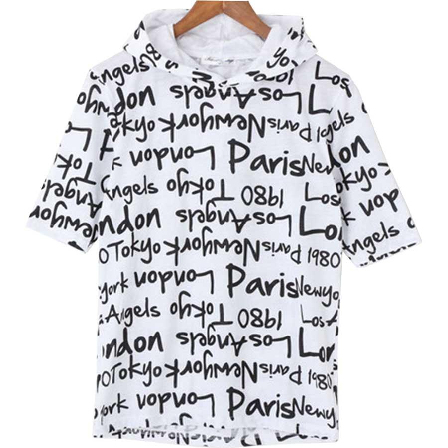 この時期ぴったり メンズファッション通販パーカー 半袖 Tシャツ ロゴ プリント メンズ ホワイト ブラック メンズ 夏 抜擢