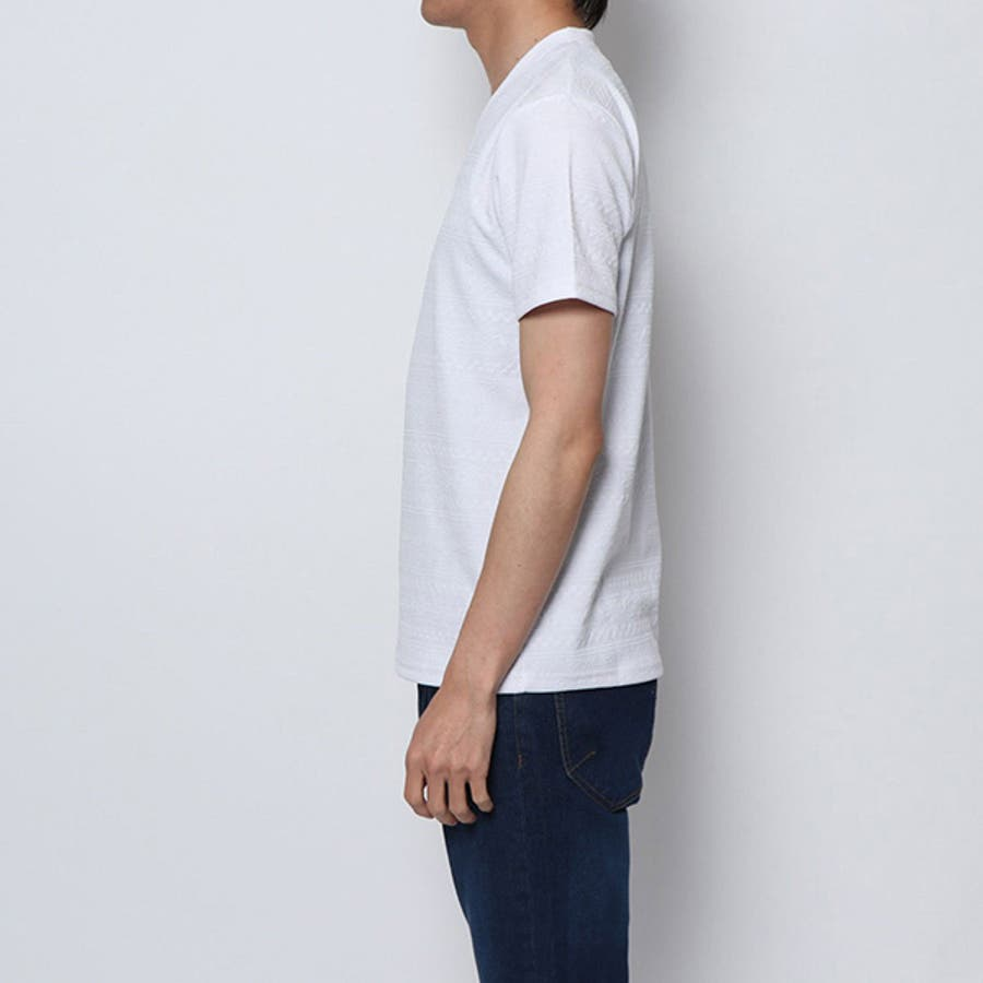 Tシャツ カットソー 半袖 Vネック 半袖Tシャツ オルテガ柄 ジャガード トップス ブラック ネイビー ホワイト 夏先行 4