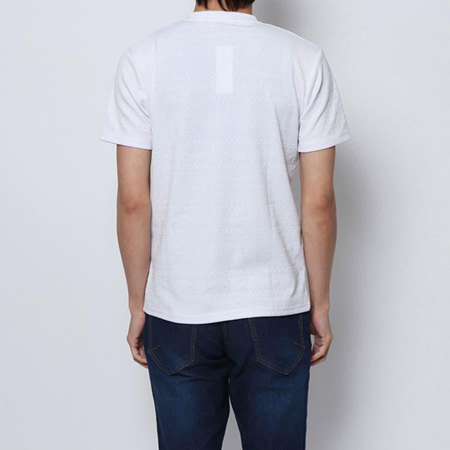 Tシャツ カットソー 半袖 Vネック 半袖Tシャツ オルテガ柄 ジャガード トップス ブラック ネイビー ホワイト 夏先行 5