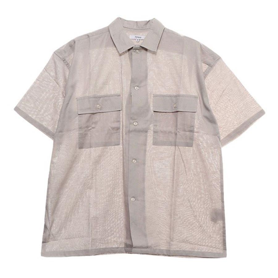 シャツ ワークシャツ 半袖 ビッグシルエット 無地 リネン 綿 コットン カジュアルシャツ トップス メンズ ベージュ グレー カーキ夏先行 5
