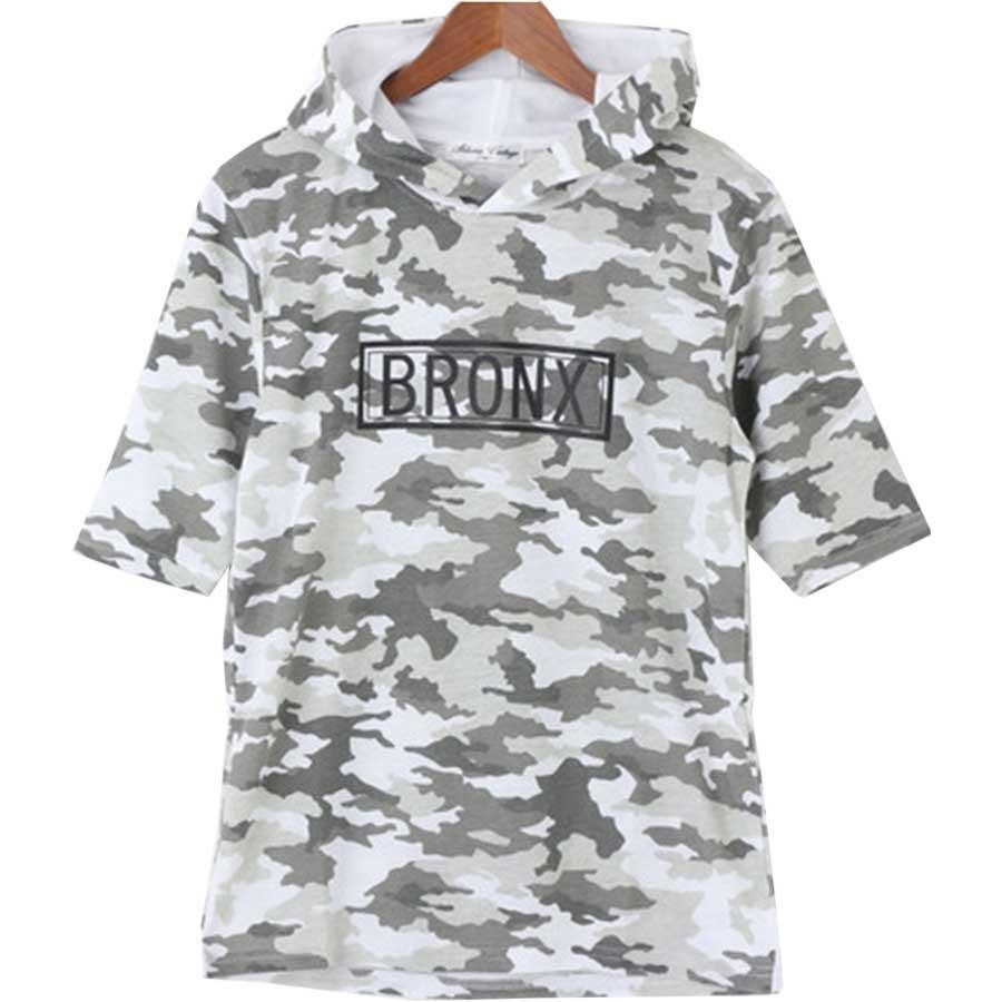 色々な見せ方ができる パーカー Tシャツ カットソー 半袖 プリント ロゴ 迷彩 カモフラージュ メンズ ホワイト ブラック メンズ 夏 威圧
