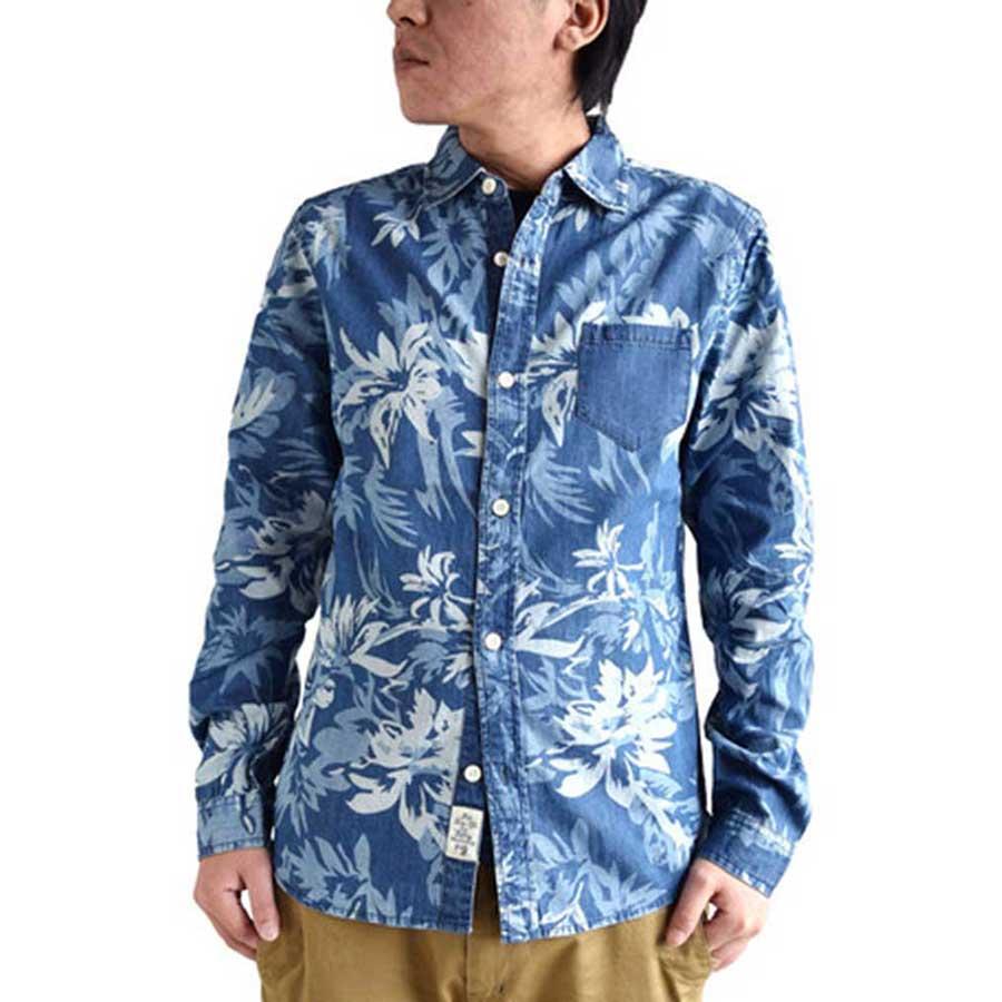 気軽に着て歩くには最高 メンズファッション通販デニムシャツ 長袖 カジュアルシャツ メンズ ボタニカル リーフ 総柄 インディゴ ブルー ネイビー メンズファッション メンズ 夏 起案