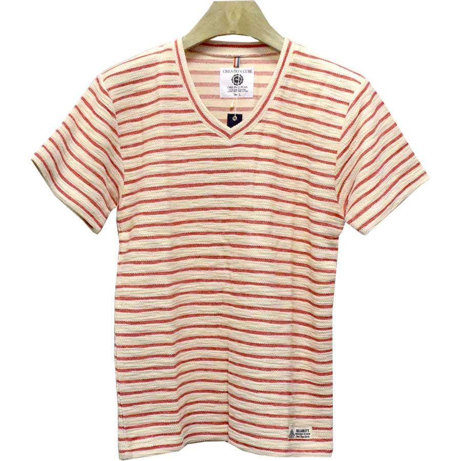 コスパがいいと思う! メンズファッション通販Tシャツ カットソー 半袖 半袖Tシャツ ジャカード ボーダー Vネック メンズ ブルー レッド ブラック ネイビー メンズ 夏 恫喝