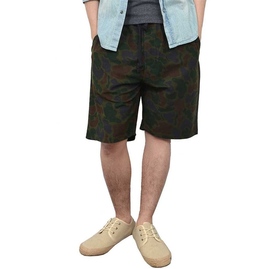 安いから大人買いできる ショートパンツ ショーツ メンズ ハーフパンツ イージーパンツ カモフラージュ柄 迷彩 リブ 夏 メンズファッション メンズ 夏 大詰