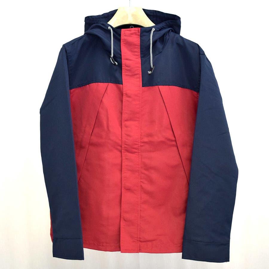 いい感じで着れました パーカー マウンテンパーカー ツートーン バイカラー 切り替え メンズ グリーン レッド ブルー トップス 秋冬 天然