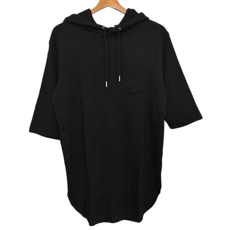 まとめ買いすれば良かった! メンズファッション通販パーカー カットソー Tシャツ 半袖 半袖Tシャツ ワッフル ロング丈 プルオーバー メンズ オフホワイト ブラック メンズ 夏 買電