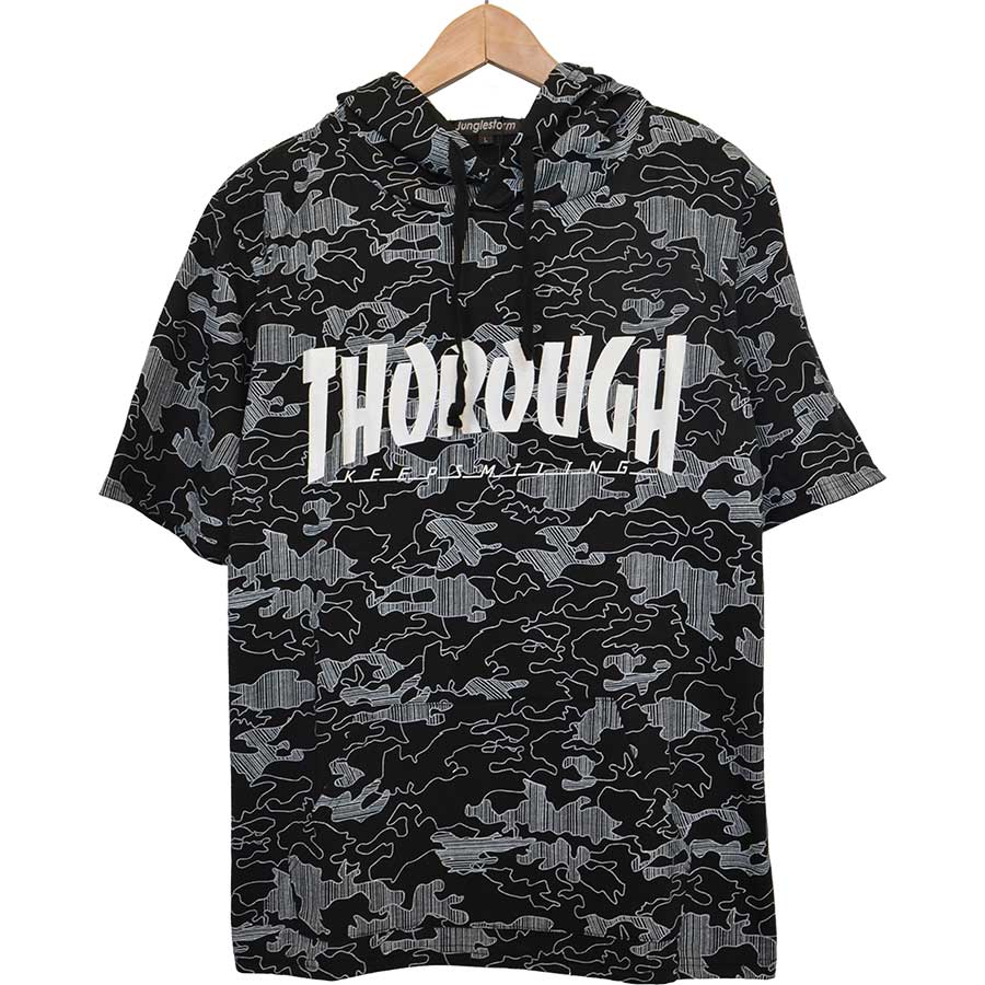 コーデに表情をプラスしてくれる メンズファッション通販パーカー Tシャツ プリント ロゴ 迷彩 カモフラージュ カモフラ 星条旗 メンズ オフホワイト ブラック メンズ 夏 群衆