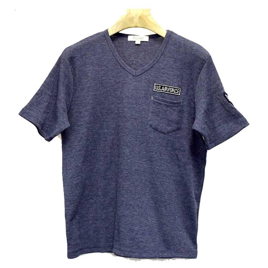 この値段でこの品質は良い Tシャツ カットソー 半袖Tシャツ 半袖 Vネック 無地 ワッペン ポケット付き ミリタリー メンズ ホワイト グリーン ネイビートップス 秋冬 大詰