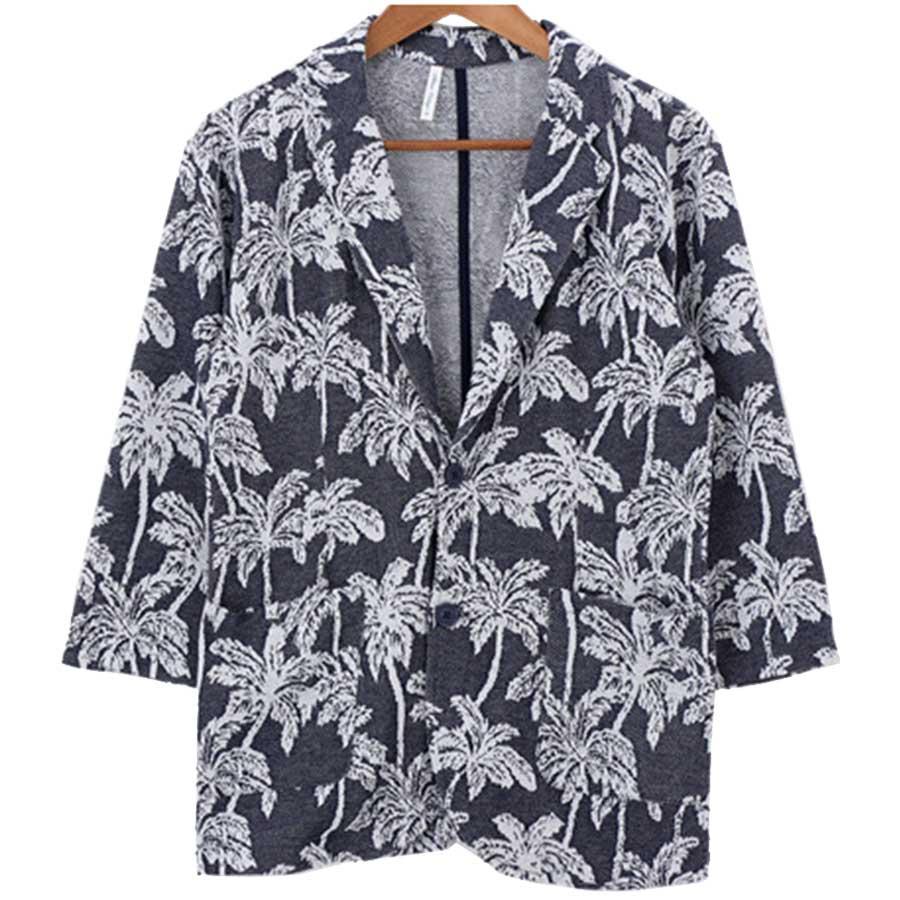 大人っぽく見えてとってもいい メンズファッション通販テーラードジャケット メンズ ツリー 柄 サーフ インレイ ジャガード 七分袖 7分袖 グレー ネイビー メンズ 夏 愚昧