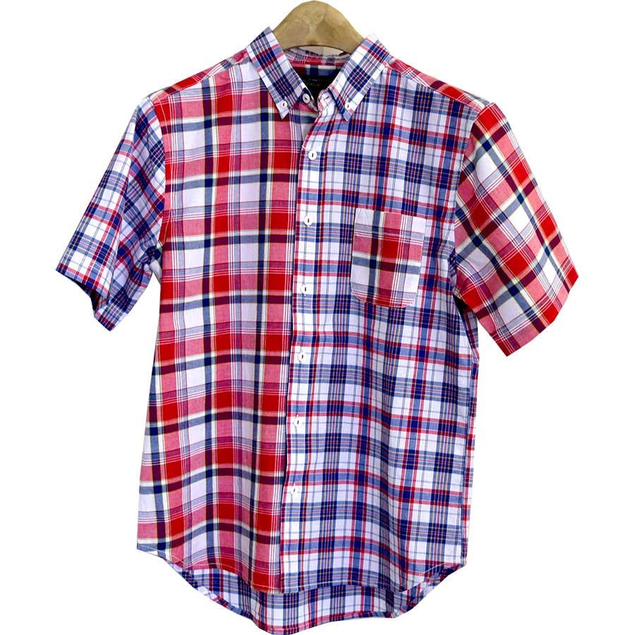 値段の割にかっこいい メンズファッション通販シャツ チェックシャツ チェック マドラスチェック 半袖シャツ ボタンダウン 切り替え メンズ ブルー レッド メンズ 夏 怪異