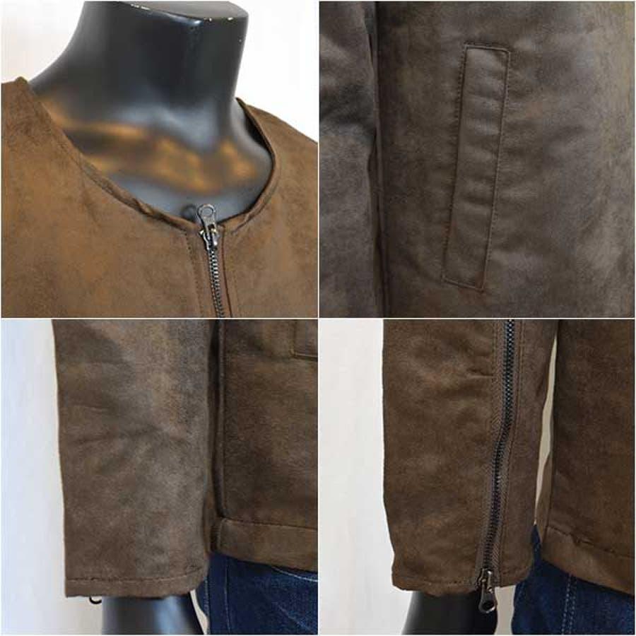 ジャケット メンズ アウター レザージャケット スエードジャケット ブルゾン ノーカラー スエード キャメル オリーブメンズファッション メンズ 秋冬 3