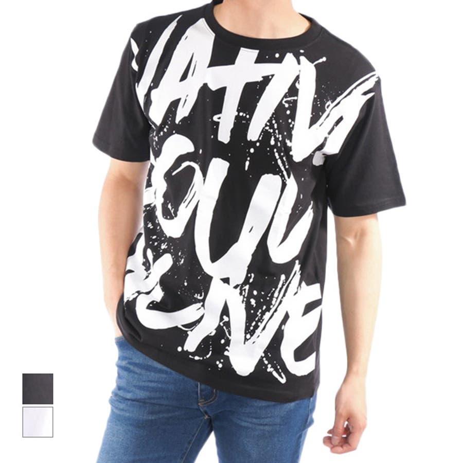 Tシャツ カットソー 半袖 クルーネック 丸首 ビッグTシャツ ビッグシルエット オーバーサイズ ロゴ 綿 コットン100% トップスメンズ ブラック ホワイト 春先行 1