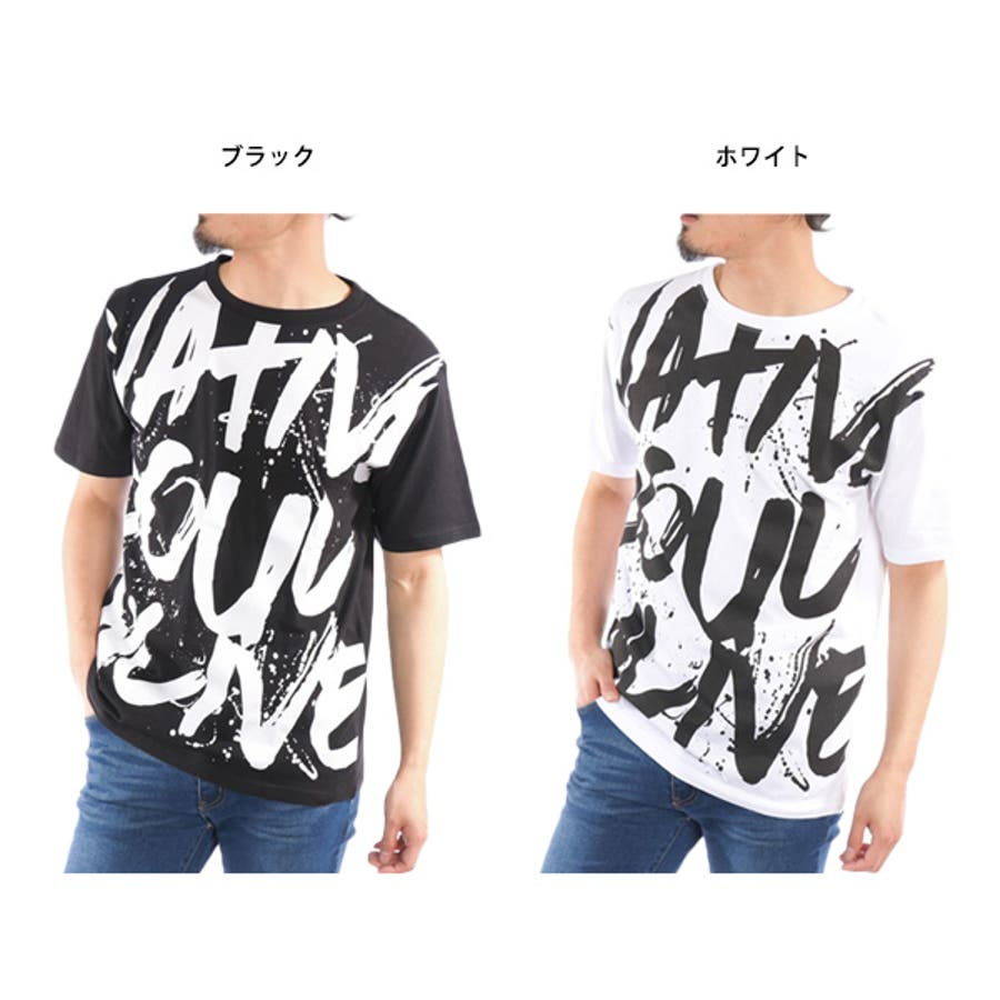 Tシャツ カットソー 半袖 クルーネック 丸首 ビッグTシャツ ビッグシルエット オーバーサイズ ロゴ 綿 コットン100% トップスメンズ ブラック ホワイト 春先行 2