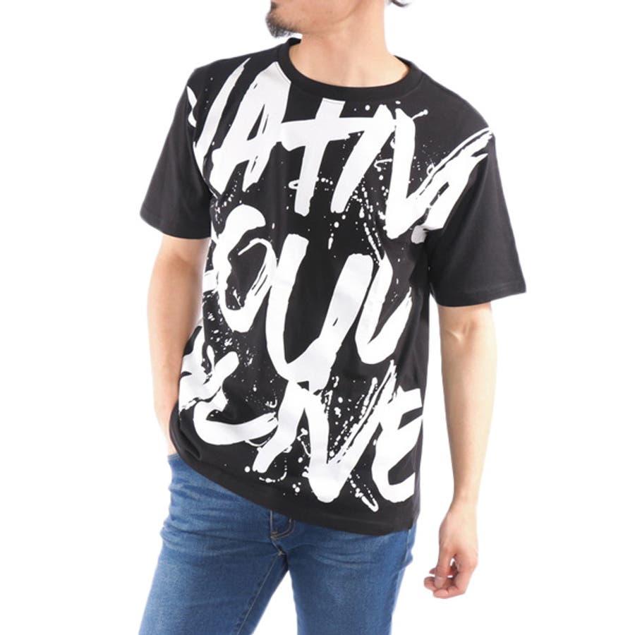Tシャツ カットソー 半袖 クルーネック 丸首 ビッグTシャツ ビッグシルエット オーバーサイズ ロゴ 綿 コットン100% トップスメンズ ブラック ホワイト 春先行 4