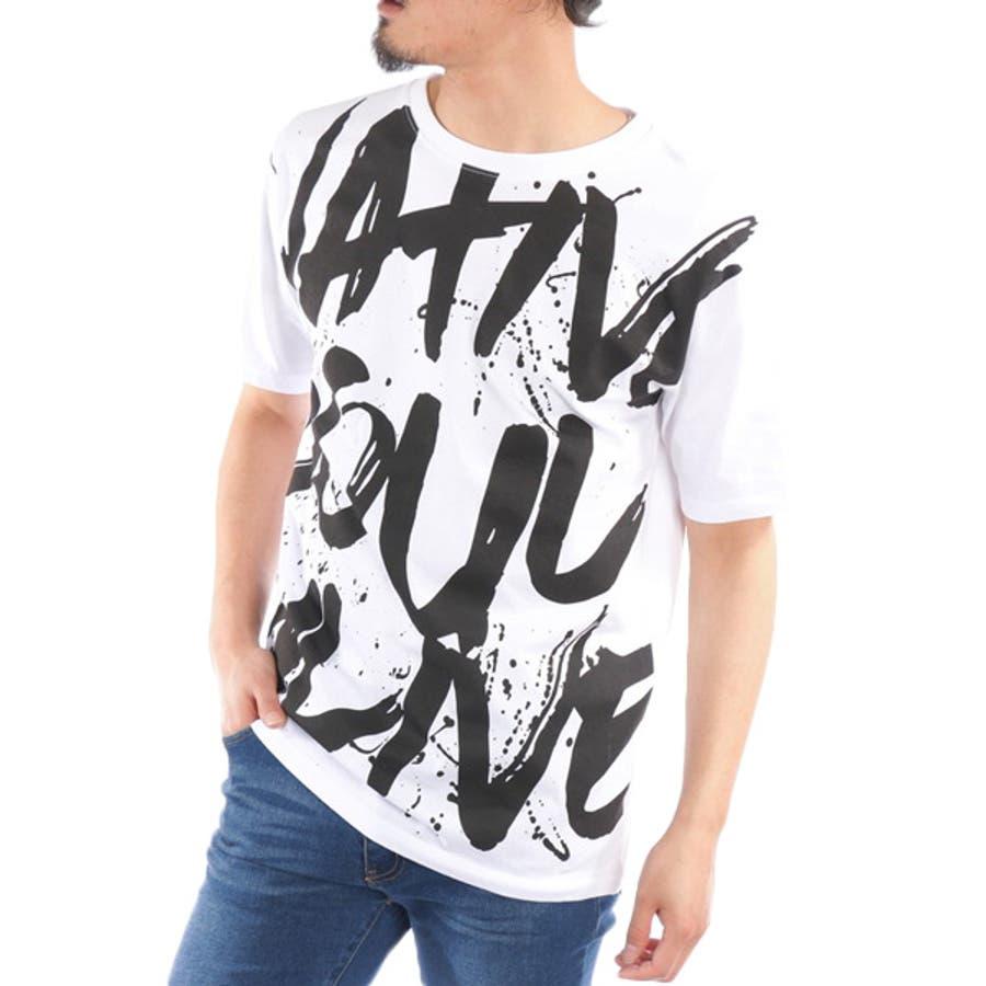 Tシャツ カットソー 半袖 クルーネック 丸首 ビッグTシャツ ビッグシルエット オーバーサイズ ロゴ 綿 コットン100% トップスメンズ ブラック ホワイト 春先行 5