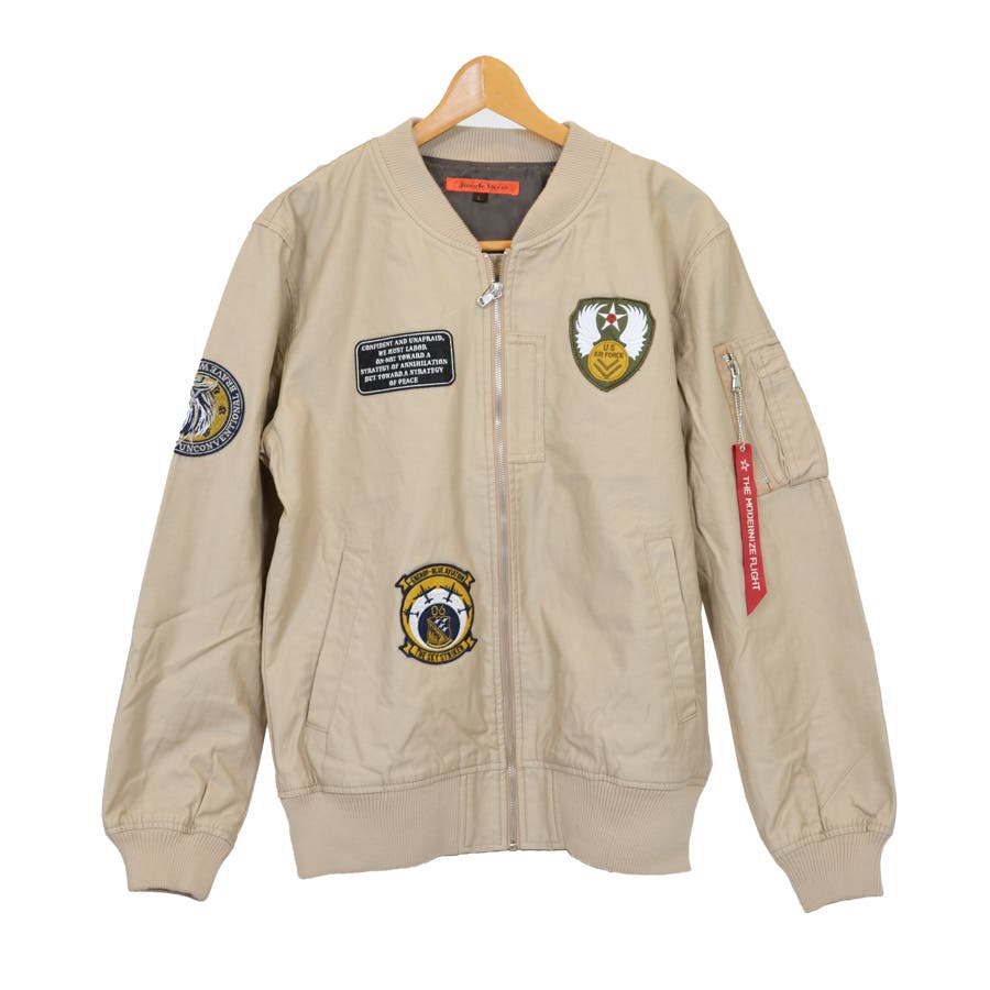 ジャケット ブルゾン ミリタリー MA-1 ミリタリージャケット ワッペン付き ツイル アウター メンズ オリーブ ブラック ベージュ秋冬 1