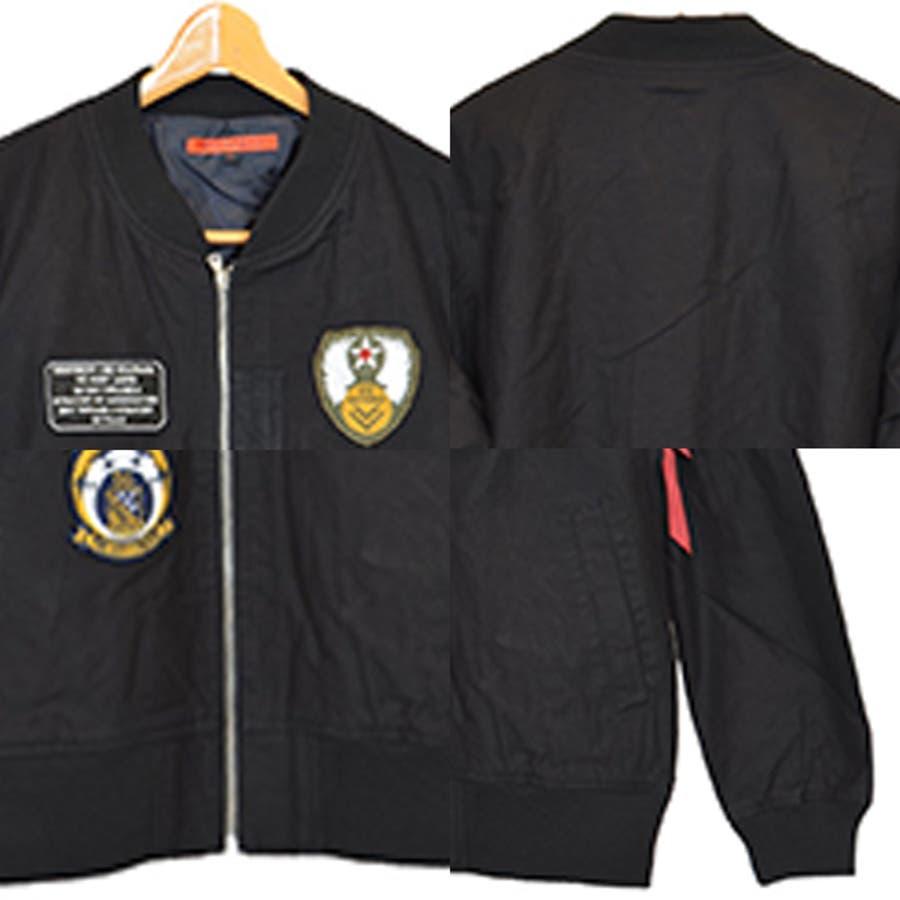 ジャケット ブルゾン ミリタリー MA-1 ミリタリージャケット ワッペン付き ツイル アウター メンズ オリーブ ブラック ベージュ秋冬 3