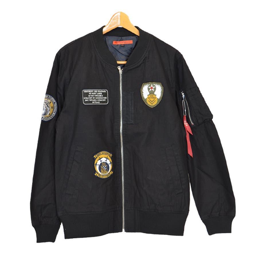 ジャケット ブルゾン ミリタリー MA-1 ミリタリージャケット ワッペン付き ツイル アウター メンズ オリーブ ブラック ベージュ秋冬 4