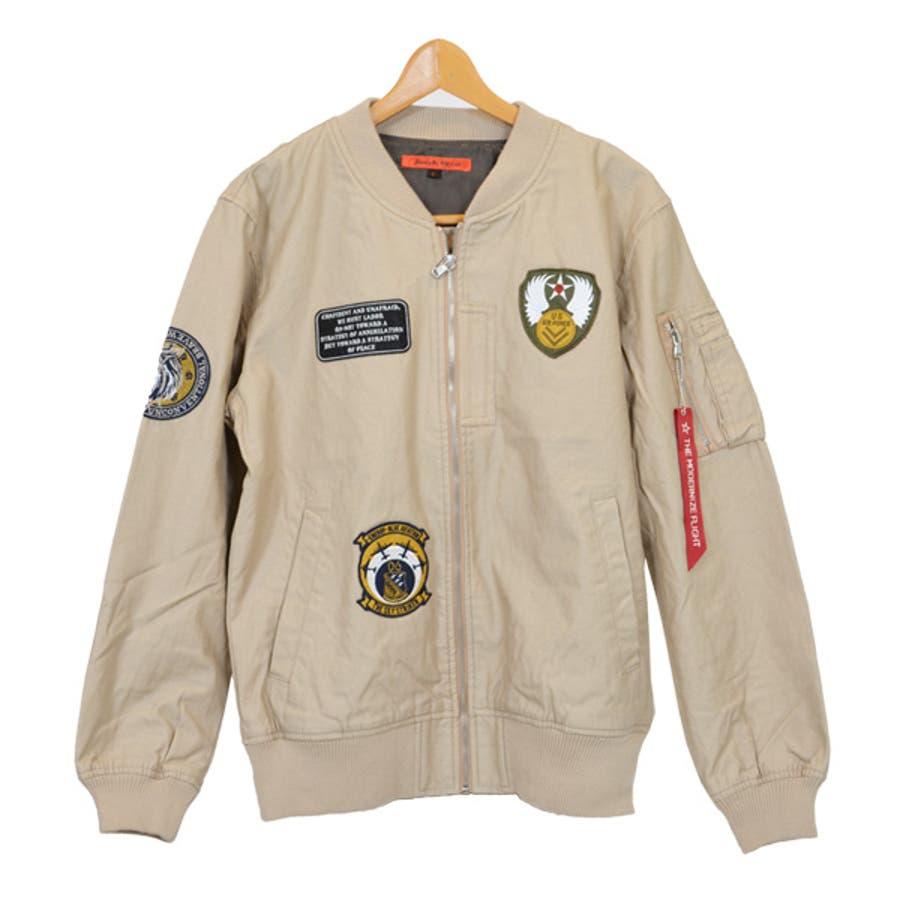 ジャケット ブルゾン ミリタリー MA-1 ミリタリージャケット ワッペン付き ツイル アウター メンズ オリーブ ブラック ベージュ秋冬 5