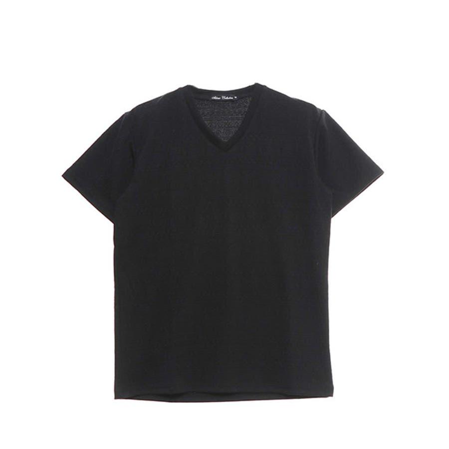 Tシャツ カットソー 半袖 Vネック 半袖Tシャツ オルテガ柄 ジャガード トップス ブラック ネイビー ホワイト 夏先行 21