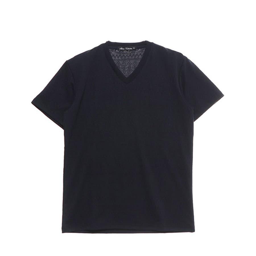 Tシャツ カットソー 半袖 Vネック 半袖Tシャツ オルテガ柄 ジャガード トップス ブラック ネイビー ホワイト 夏先行 64