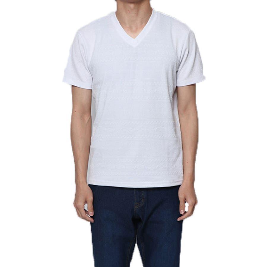 Tシャツ カットソー 半袖 Vネック 半袖Tシャツ オルテガ柄 ジャガード トップス ブラック ネイビー ホワイト 夏先行 16
