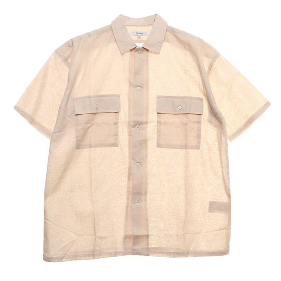 シャツ ワークシャツ 半袖 ビッグシルエット 無地 リネン 綿 コットン カジュアルシャツ トップス メンズ ベージュ グレー カーキ夏先行 41