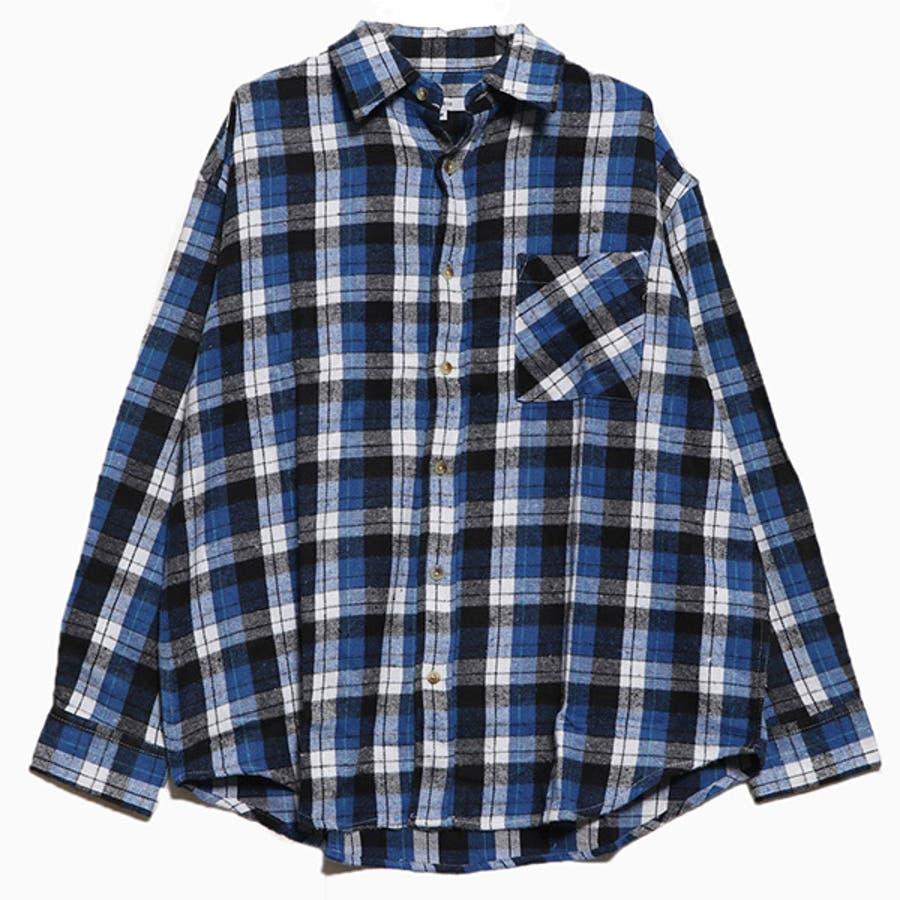 シャツ カジュアルシャツ 長袖 チェック柄 ビエラチェック レギュラーカラー ネルシャツ 起毛 ビッグサイズ オーバーシルエットトップス メンズ グレー レッド ブルー ネイビー 冬先行 59