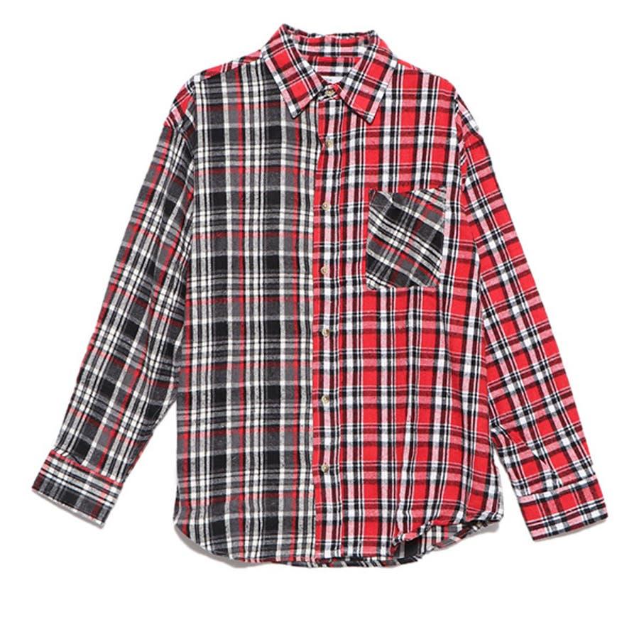 シャツ カジュアルシャツ 長袖 チェック柄 ビエラチェック レギュラーカラー ネルシャツ 起毛 ビッグサイズ オーバーシルエットトップス メンズ グレー レッド ブルー ネイビー 冬先行 98