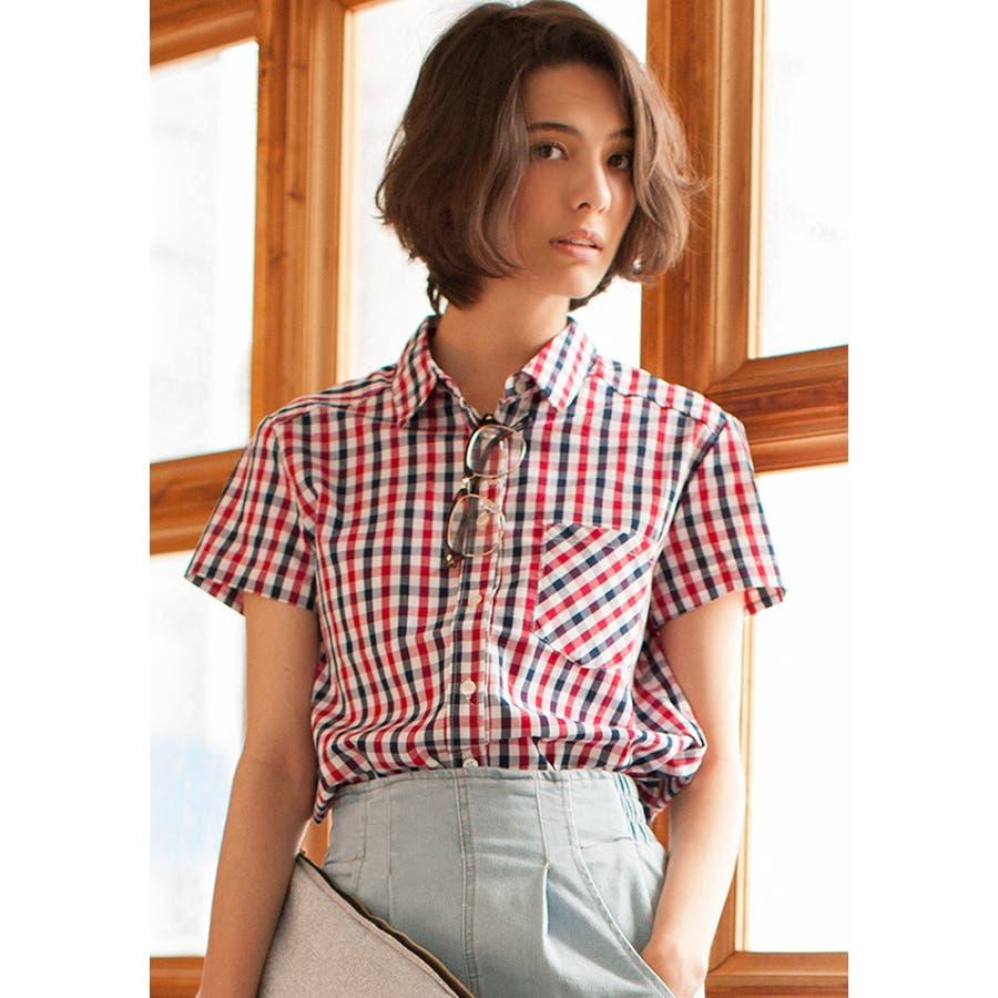 女っぽいのにコスパ抜群 半袖ギンガムチェックシャツ 協力