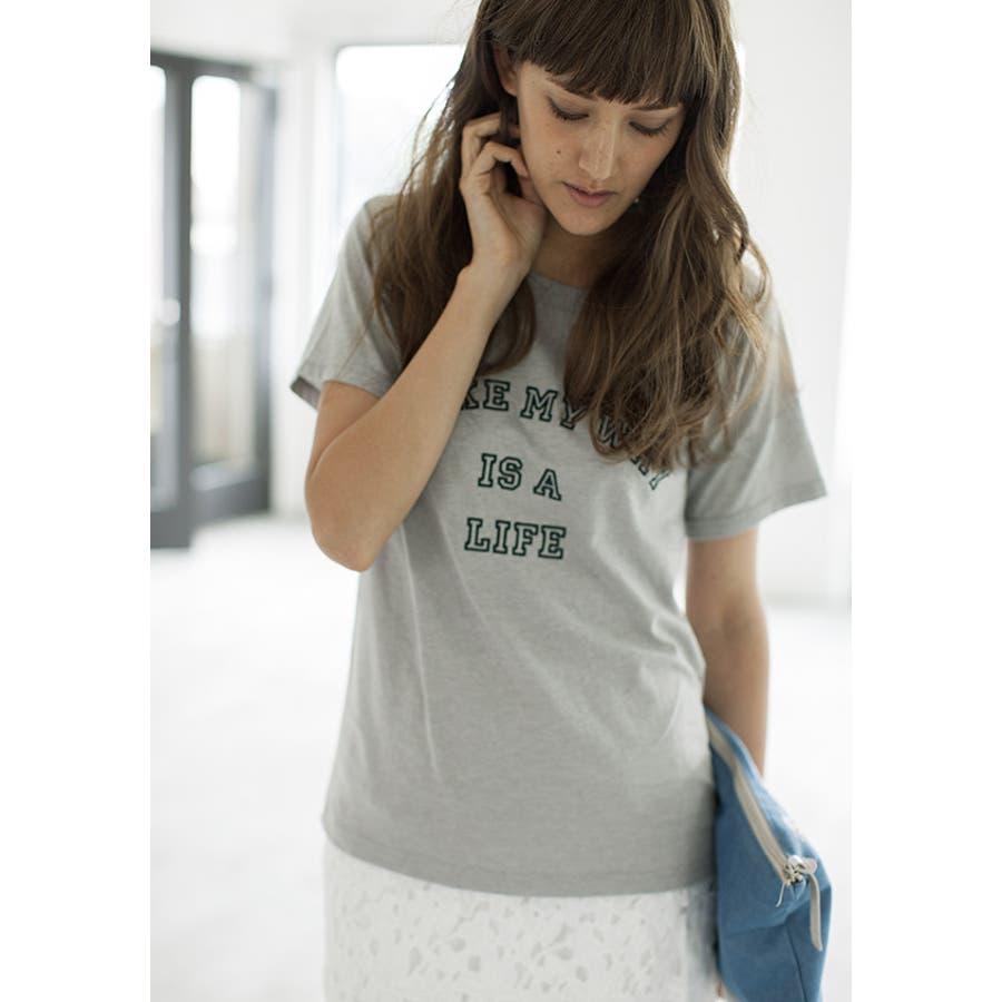 かわいい 刺繍ロゴ Tシャツ 抜刀