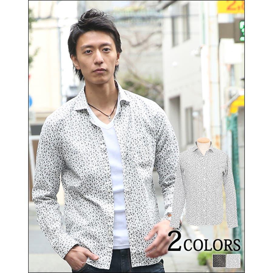 メンズ シャツ小花総柄プリントシャツ日本製 メンズ ファッション カジュアル お兄系 かっこいい シャツ トップス インナープレゼント 30代 40代 服 白 シャツ 黒